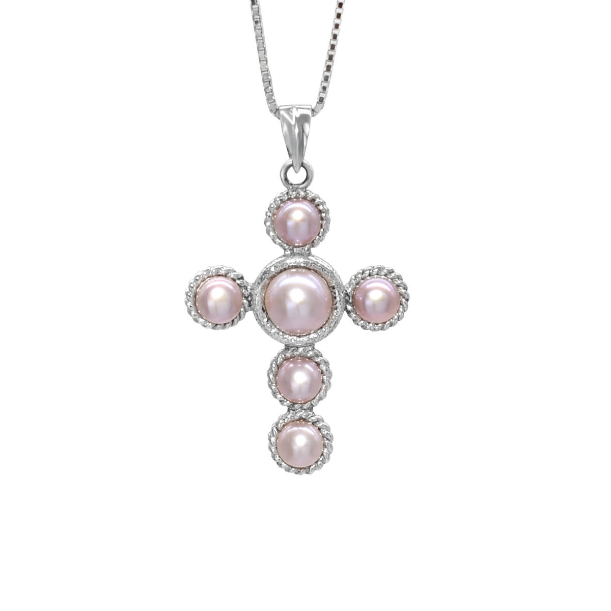 vintage cross- Cultured fresh water pearl with 925 silver pendant