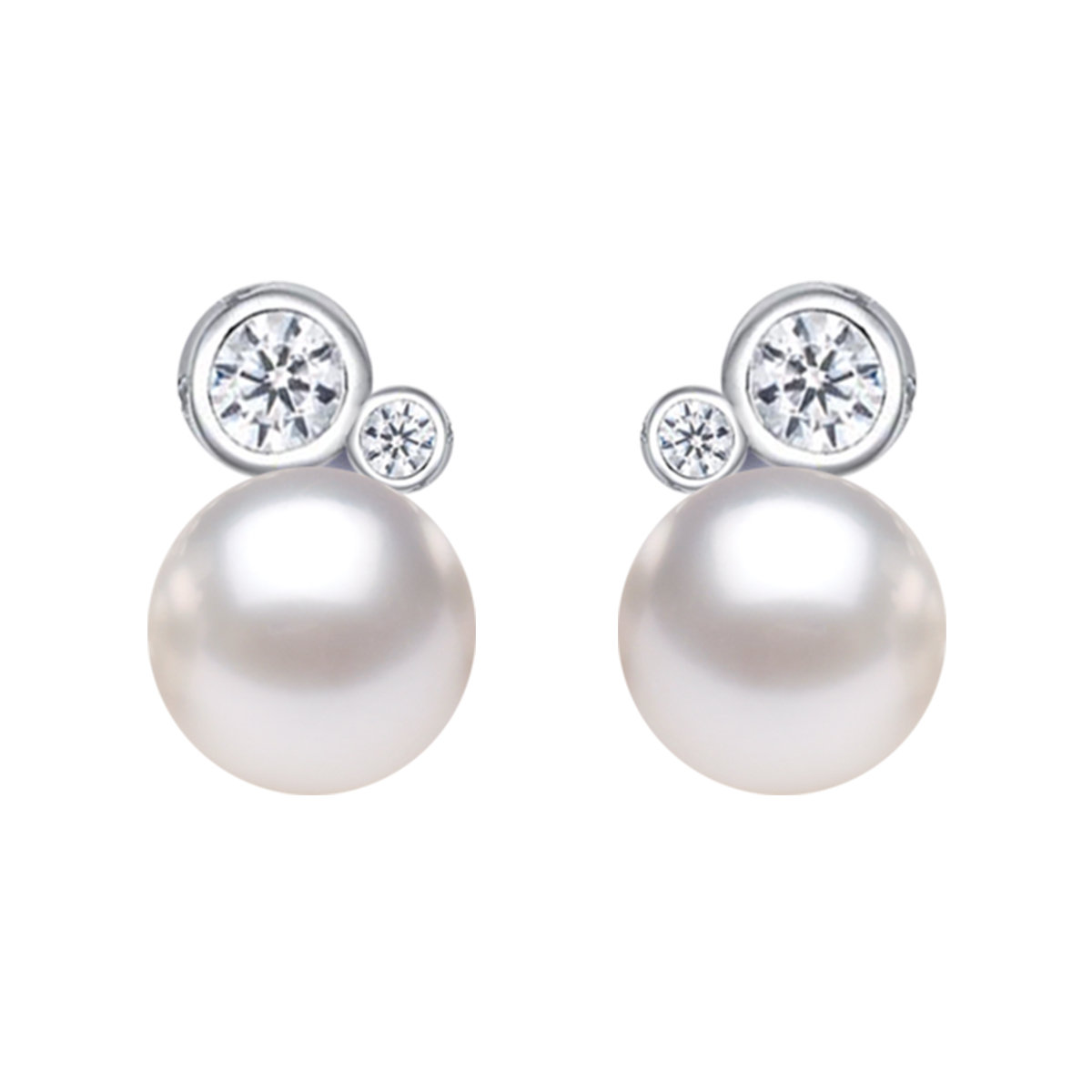 Film maker- Cultured fresh water pearl with cz mounted 925 silver earring