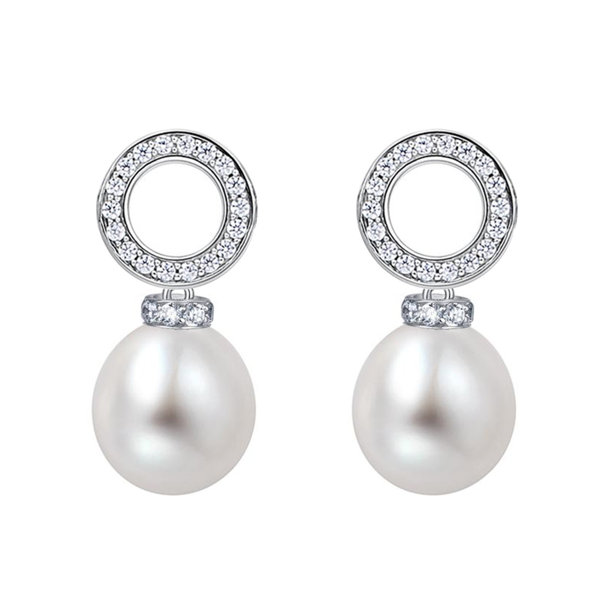 Element- Cultured fresh water pearl with cz mounted 925 silver earring
