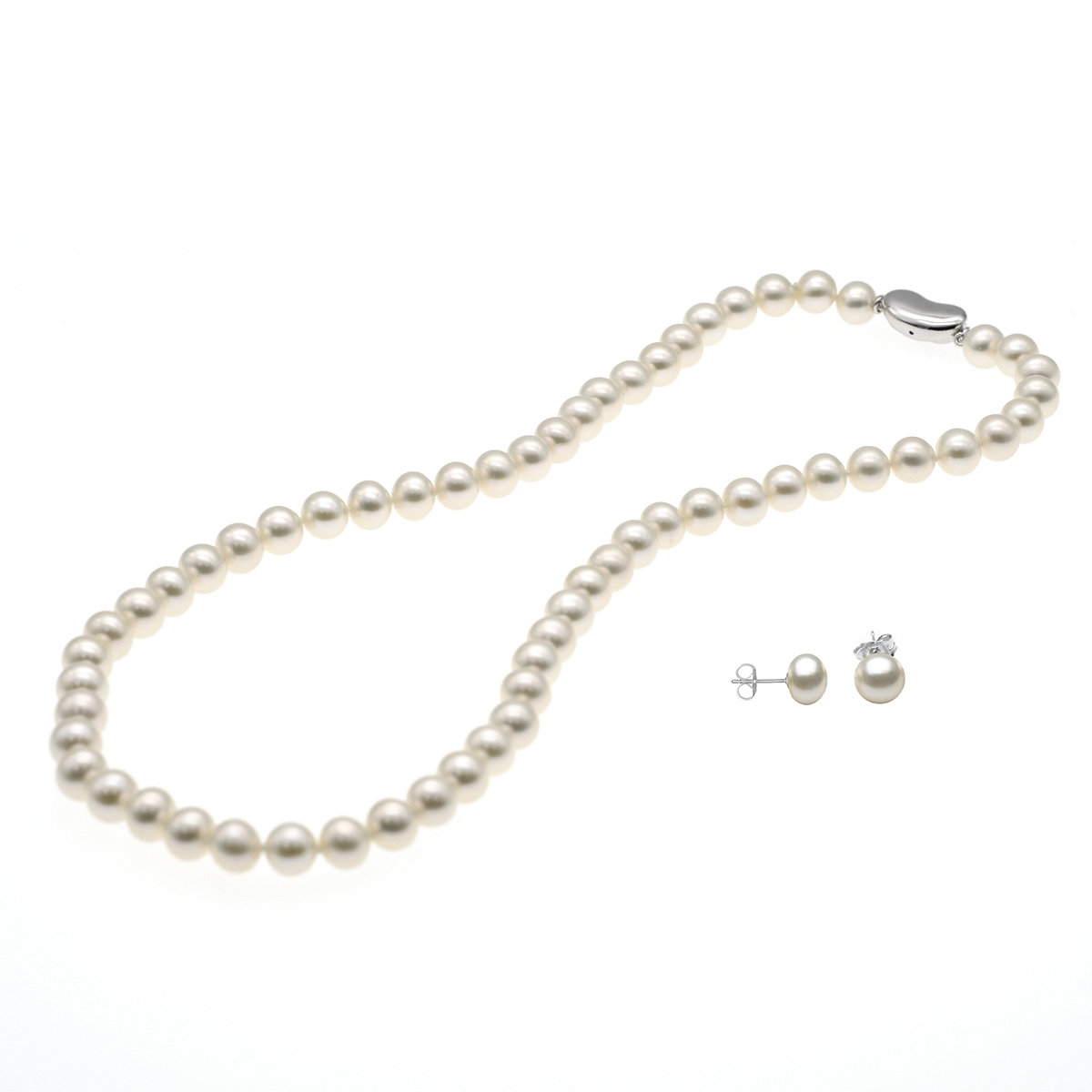 Premium Gift Set- Cultured fresh water pearl necklace with 925 silver earring