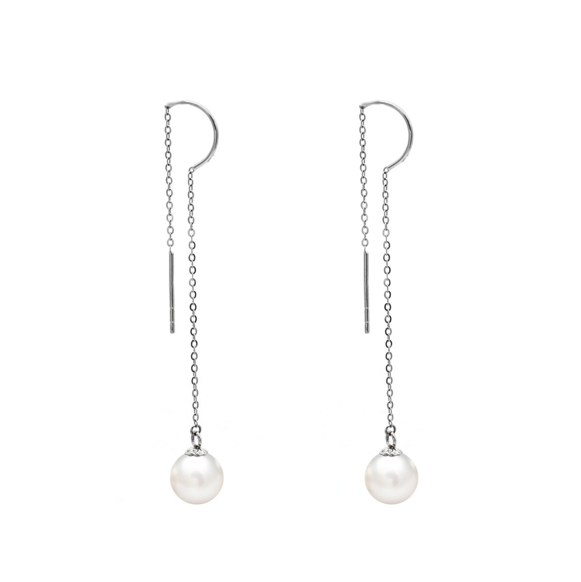 18KWhite gold with 7-8mm cultured fresh water pearl earring