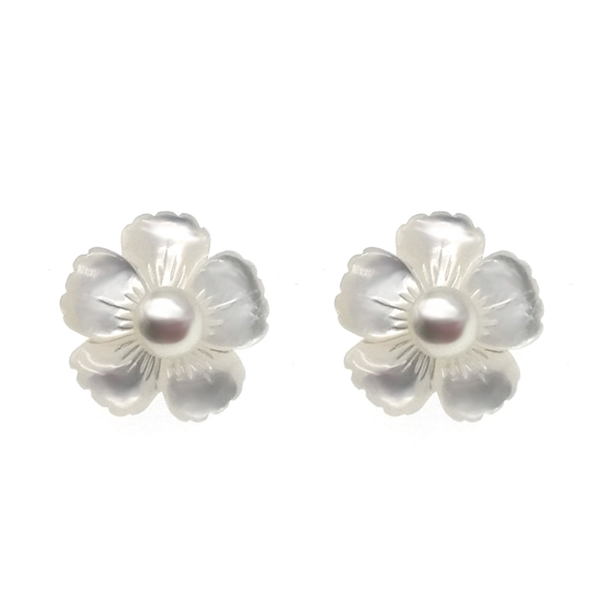 Forget-me-not- Cultured fresh water pearl & MOP with 925 silver Earring