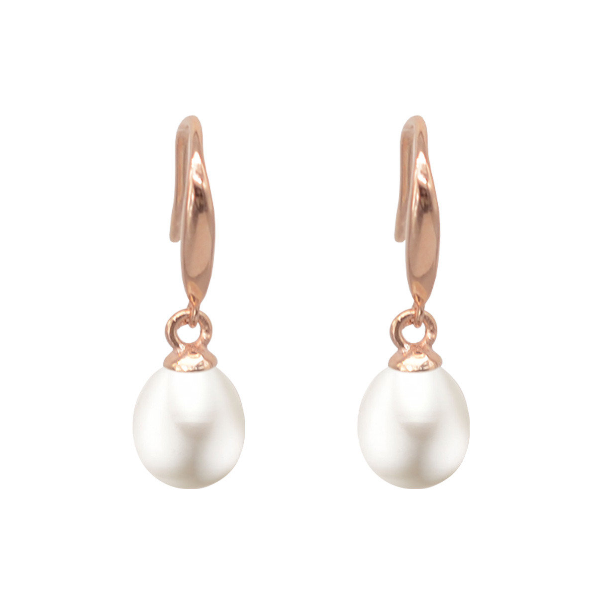 Rose gold color 925 silver with Cultured fresh water pearl earring