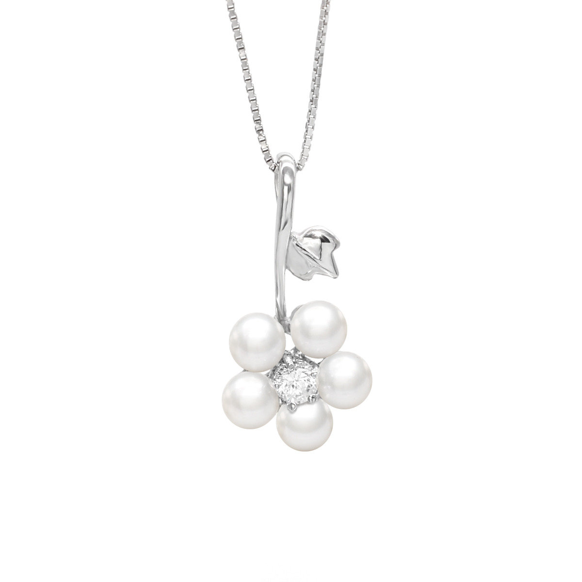 flower on the branch- 4-5mm Cultured fresh water pearl with sterling silver mounted with cz pendant