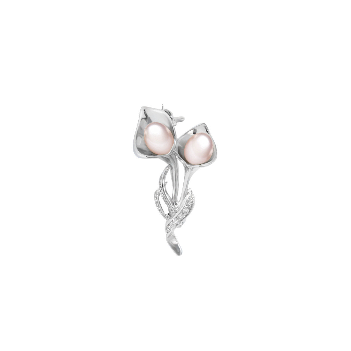 floria- 4-5mm fresh water pearl with 925 silver mounted with  cz brooch