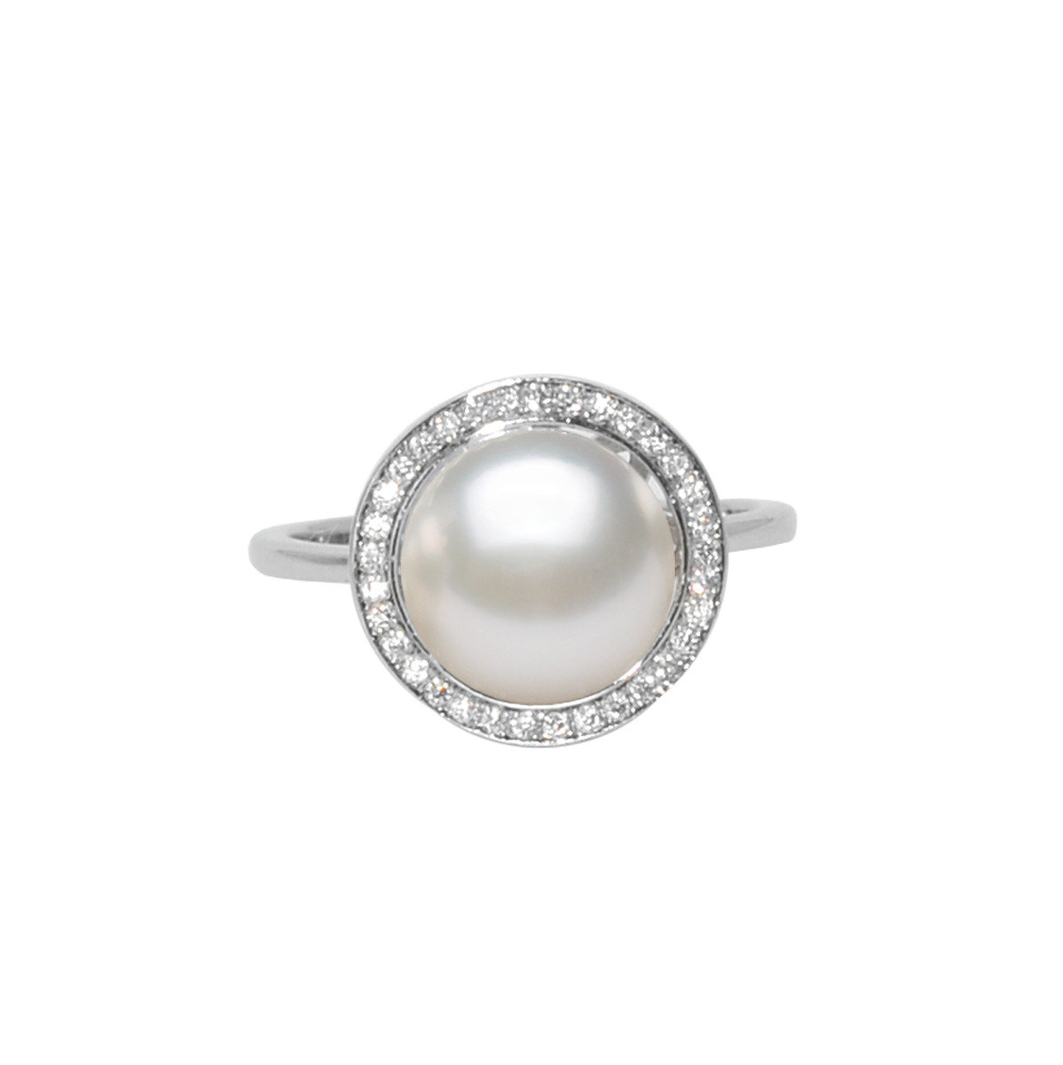 Sunset- 9-10mm Cultured fresh water pearl with cz mounted 925 silver ring