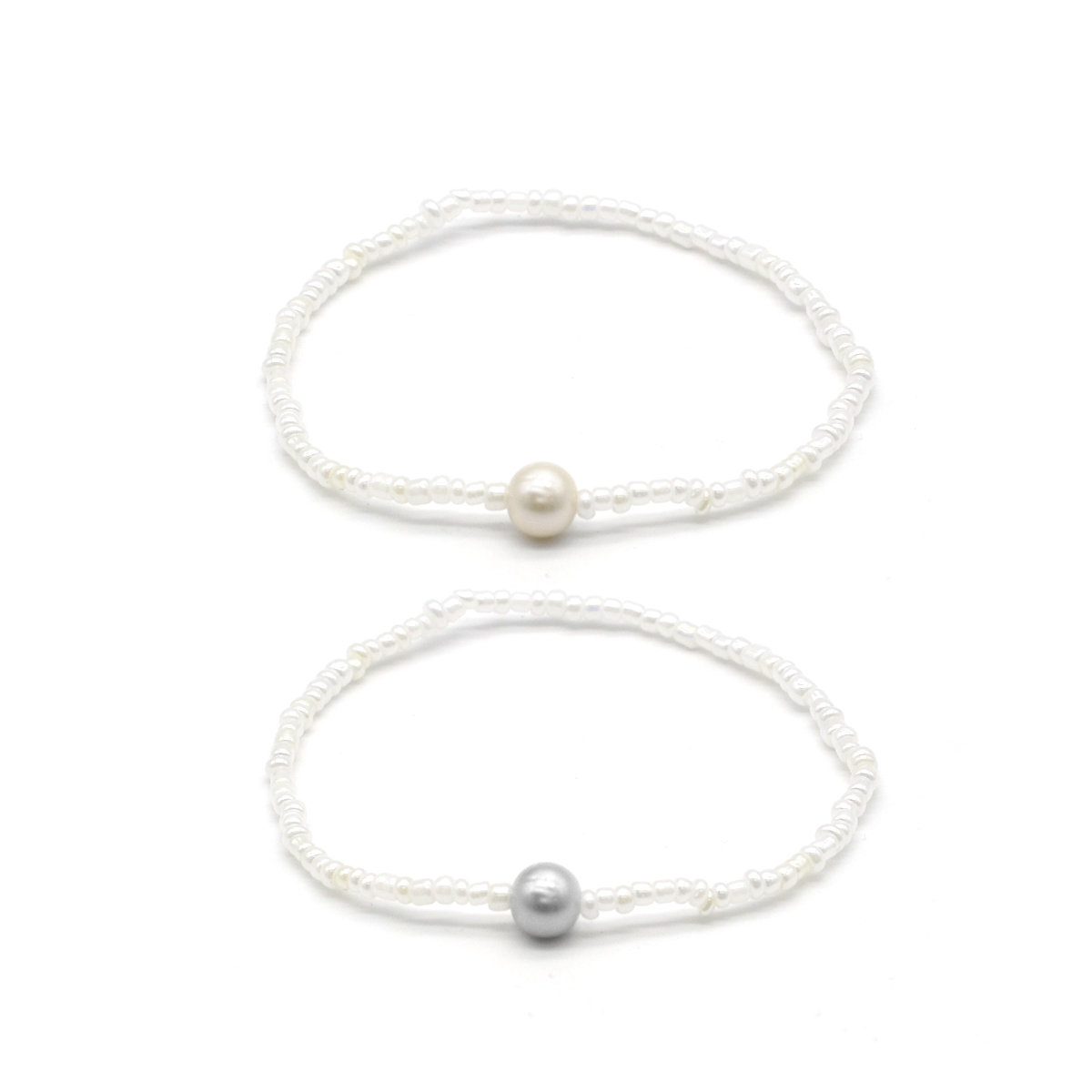 Silm P- 6-7mm fresh water pearl with little bead bracelet (2pcs set)