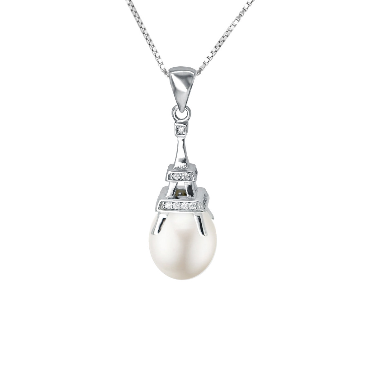 La Tour Eiffel- Cultured fresh water pearl with 925 silver pendant