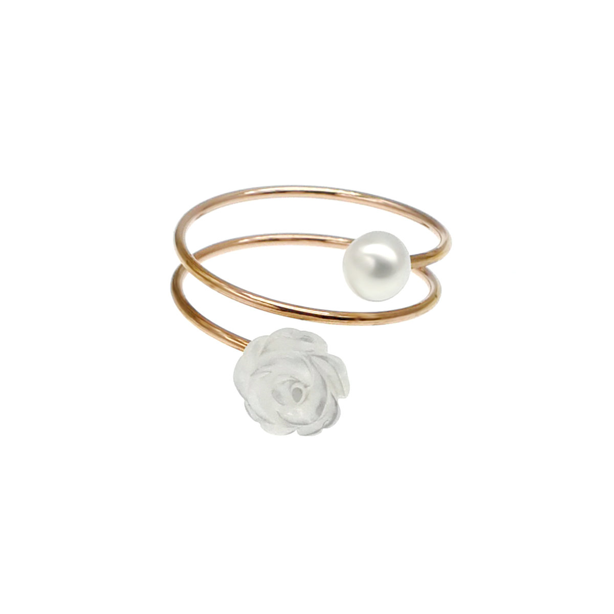 Floral- MOP & Cultured fresh water pearl with 14K gold filled 925 silver ring