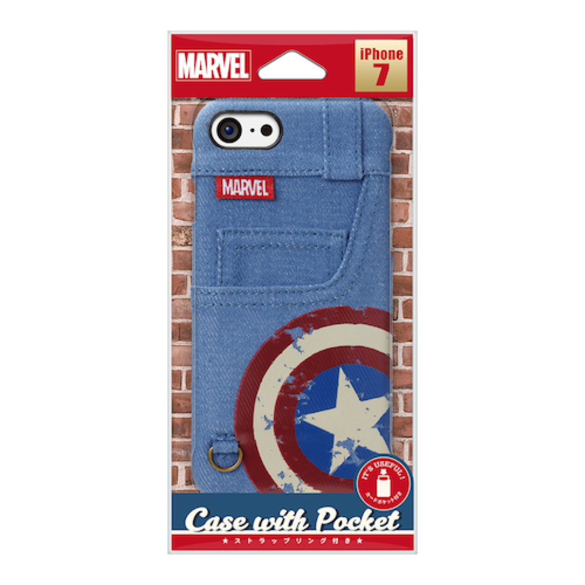 iPhone 7 / iPhone 8 Marvel Captain America Denim Card Pocket Case DCS164CTA