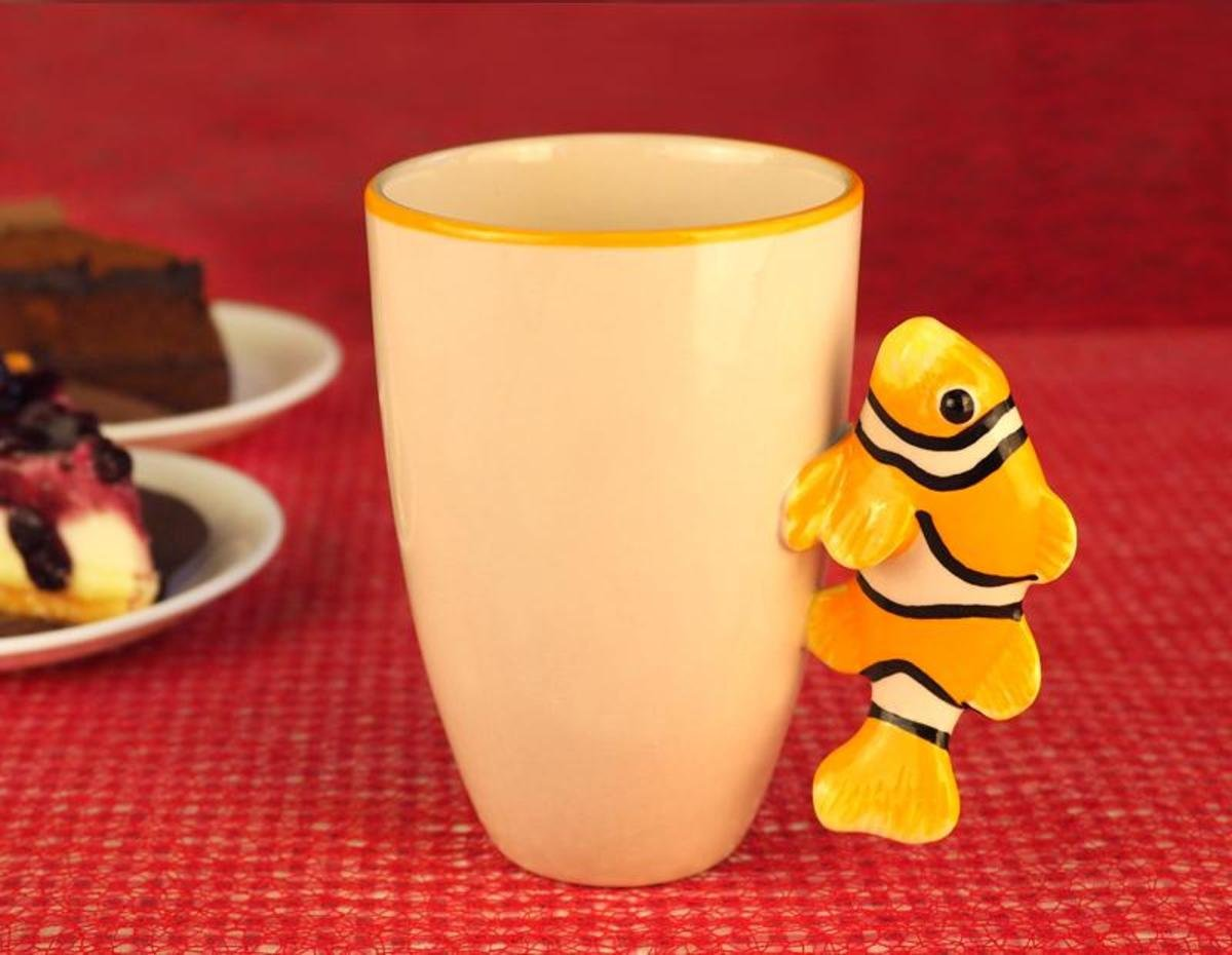 Animal Ceramic Mug 12 Oz (Clownfish, Orange)