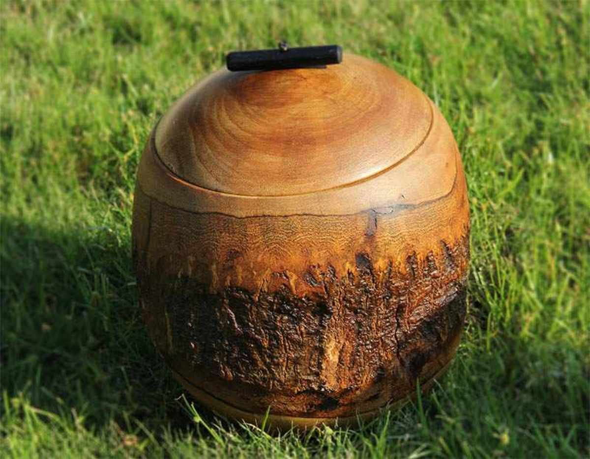 Spherical wood barrel with bark (Large)