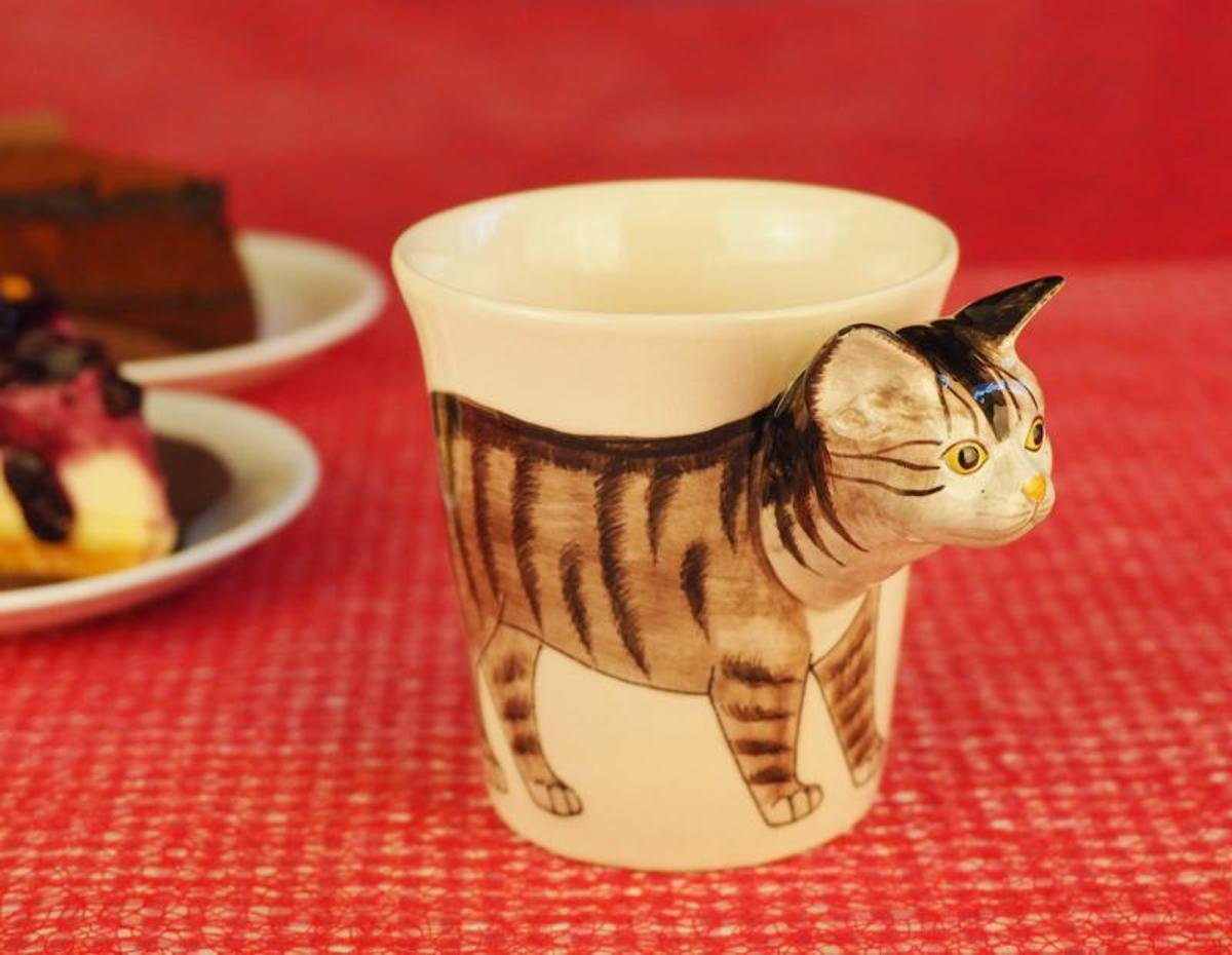 Animal Ceramic Mug 10 Oz (Tabby Cat)