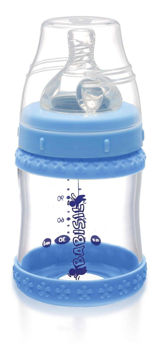 Babisil 4oz Wide-neck Glass Feeding Bottle with Heat Sensitive Protecta Bands - Blue