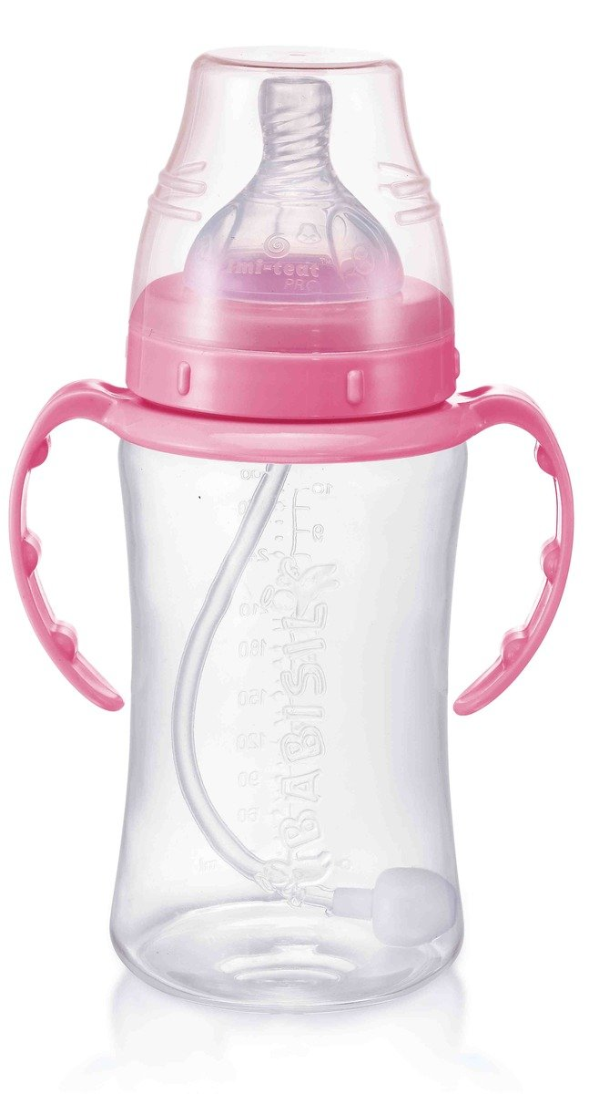 Babisil 10oz Wide-neck Flexi-Straw PP Feeding Bottle - Pink