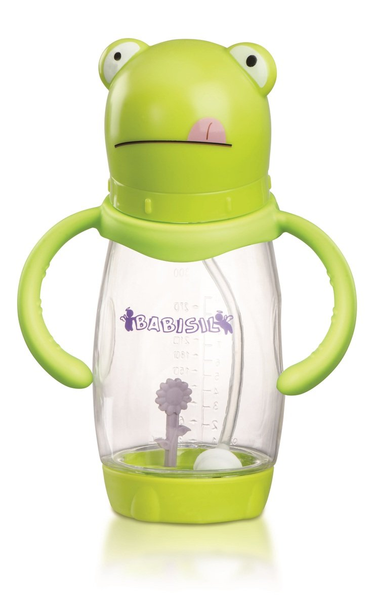 Babisil 10oz Wide-neck PA Anti-colic Feeding Bottle with Heat Sensitive Flower - Frog