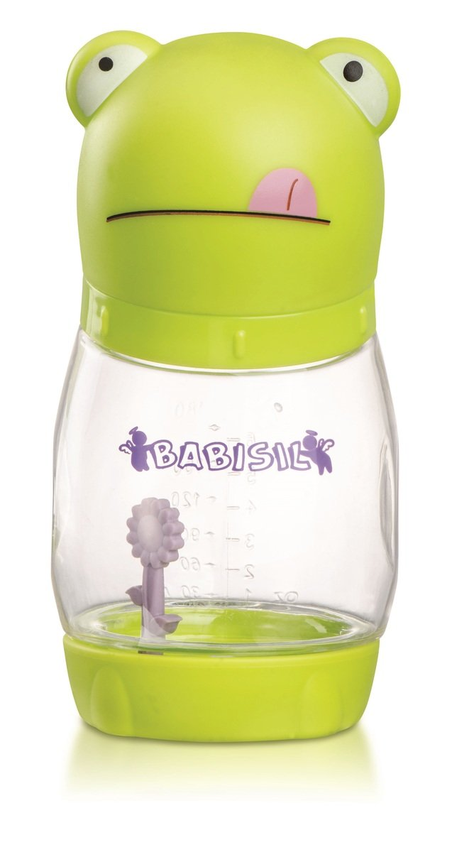 Babisil 6oz Wide-neck PA Anti-colic Newborn Feeding Bottle with Heat Sensitive Flower - Frog