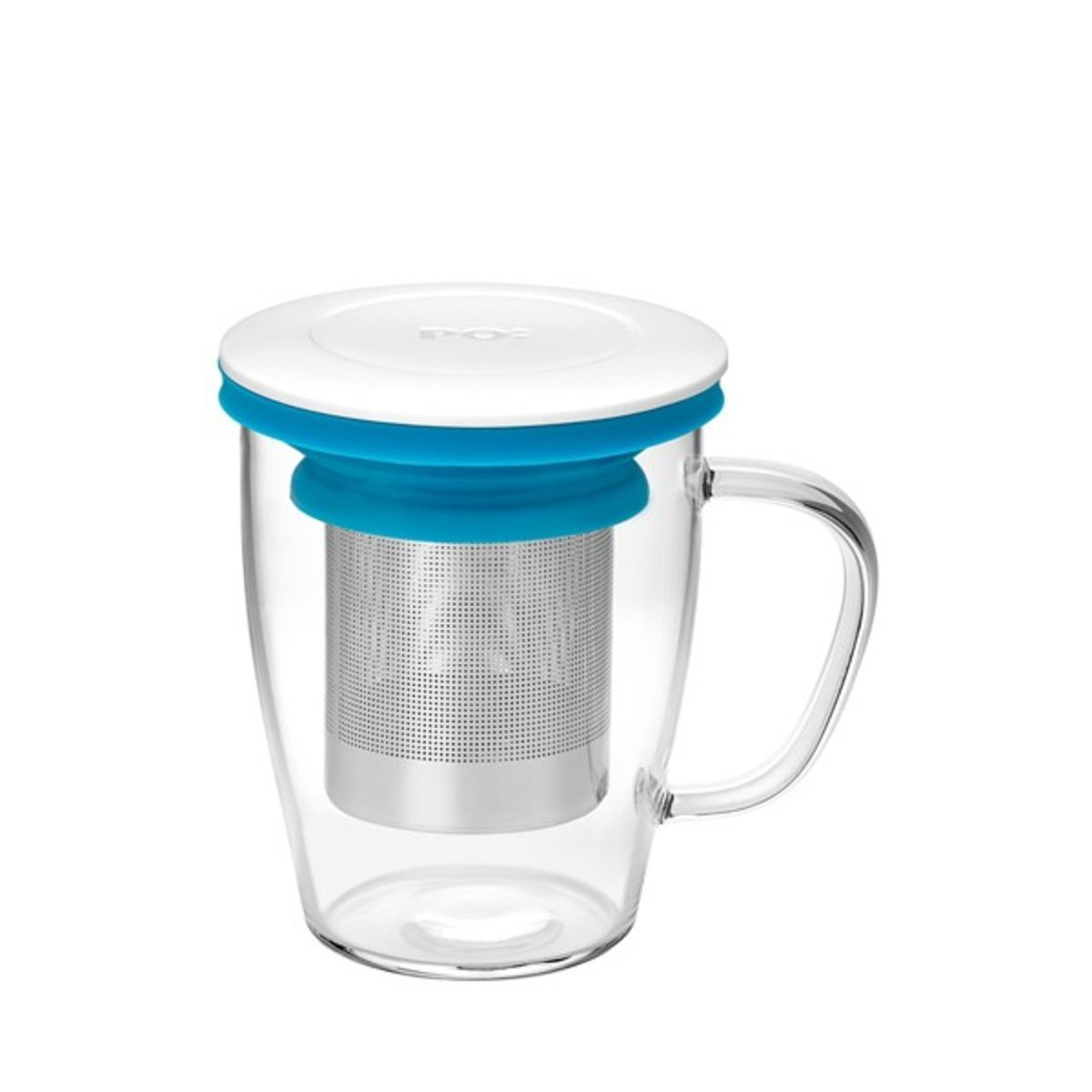 Ming Infuser Glass Mug (White Lid with Blue Ring)