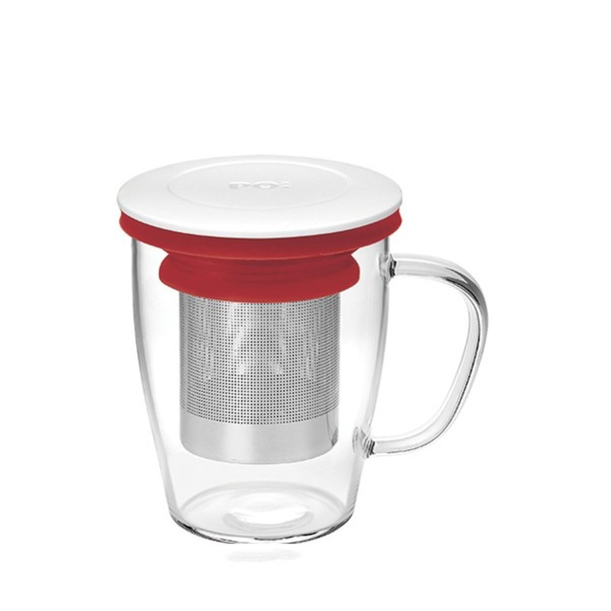 Ming Infuser Glass Mug  (White Lid with Red Ring)