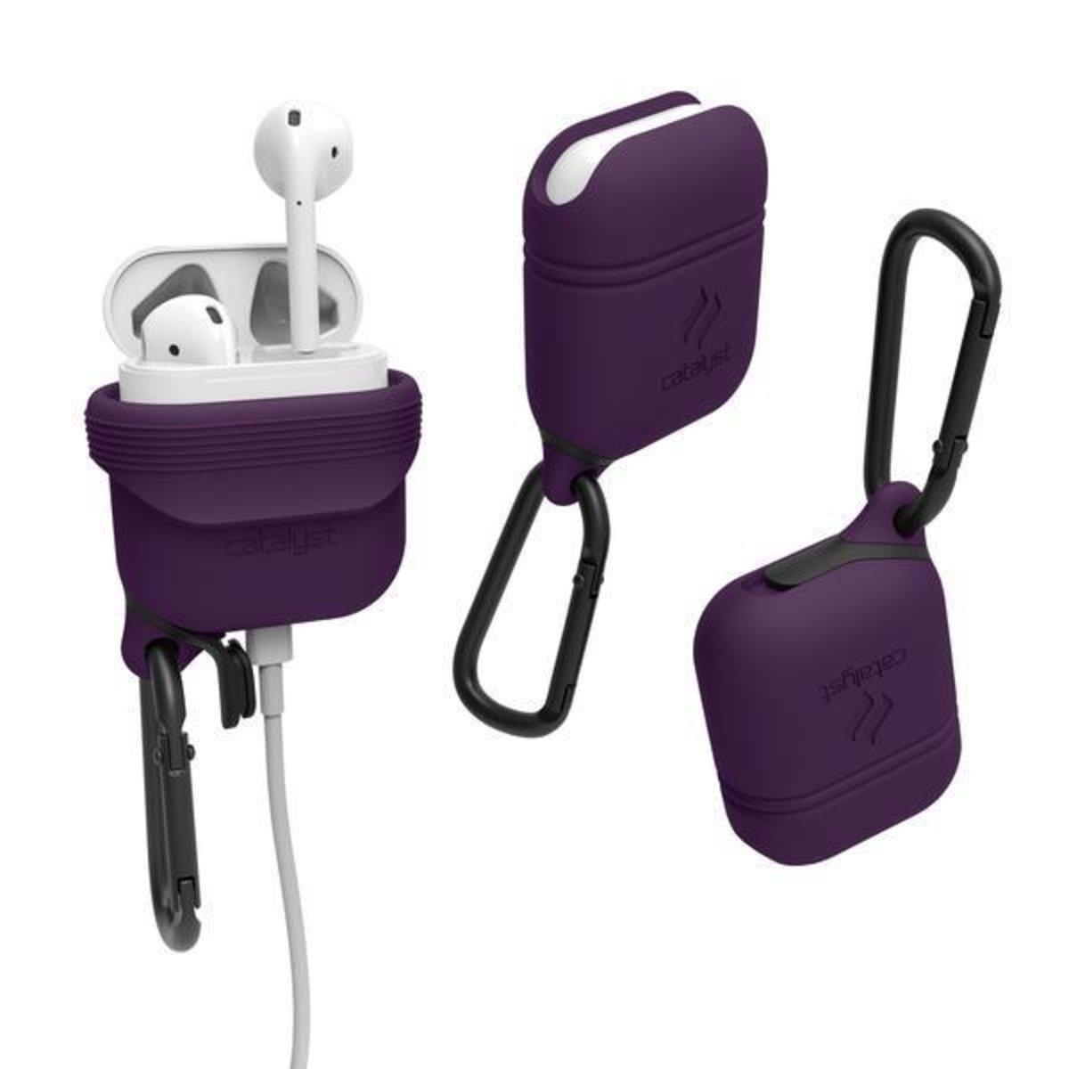 WATERPROOF Drop proof IP67 CASE with HOOK For Airpods Deep Plum
