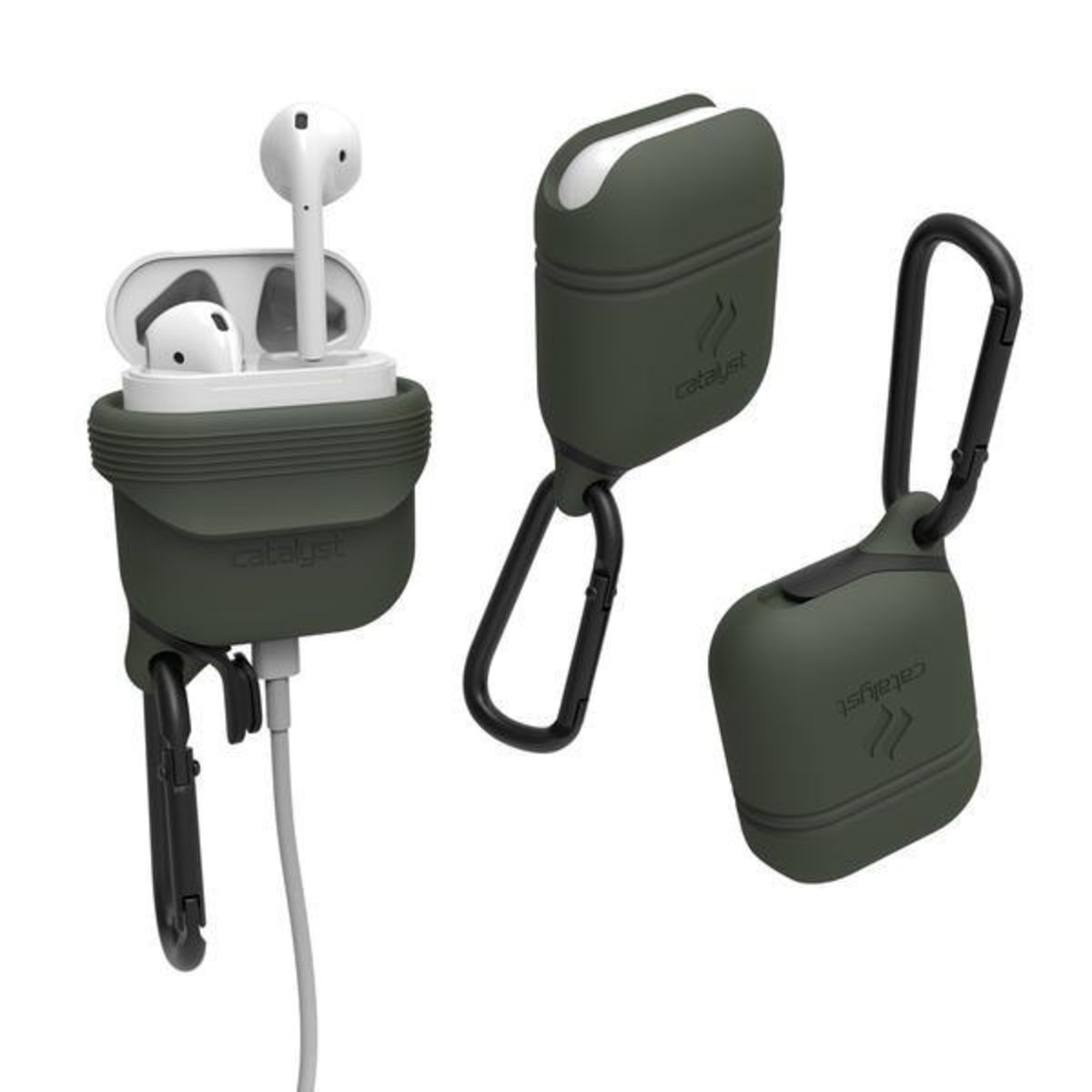 WATERPROOF Drop proof IP67 CASE with HOOK For Airpods Army Green