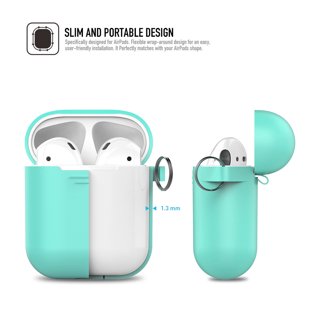 PodFit 2nd Gen Airpods Silicone Charging CASE with HOOK Green