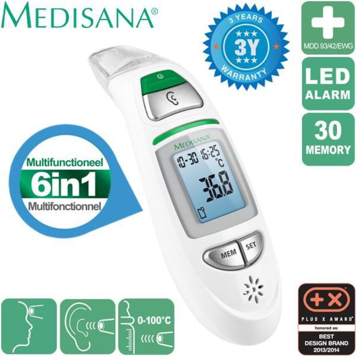 Medisana (Germany) Non-contact koorts-thermometer 6 in 1