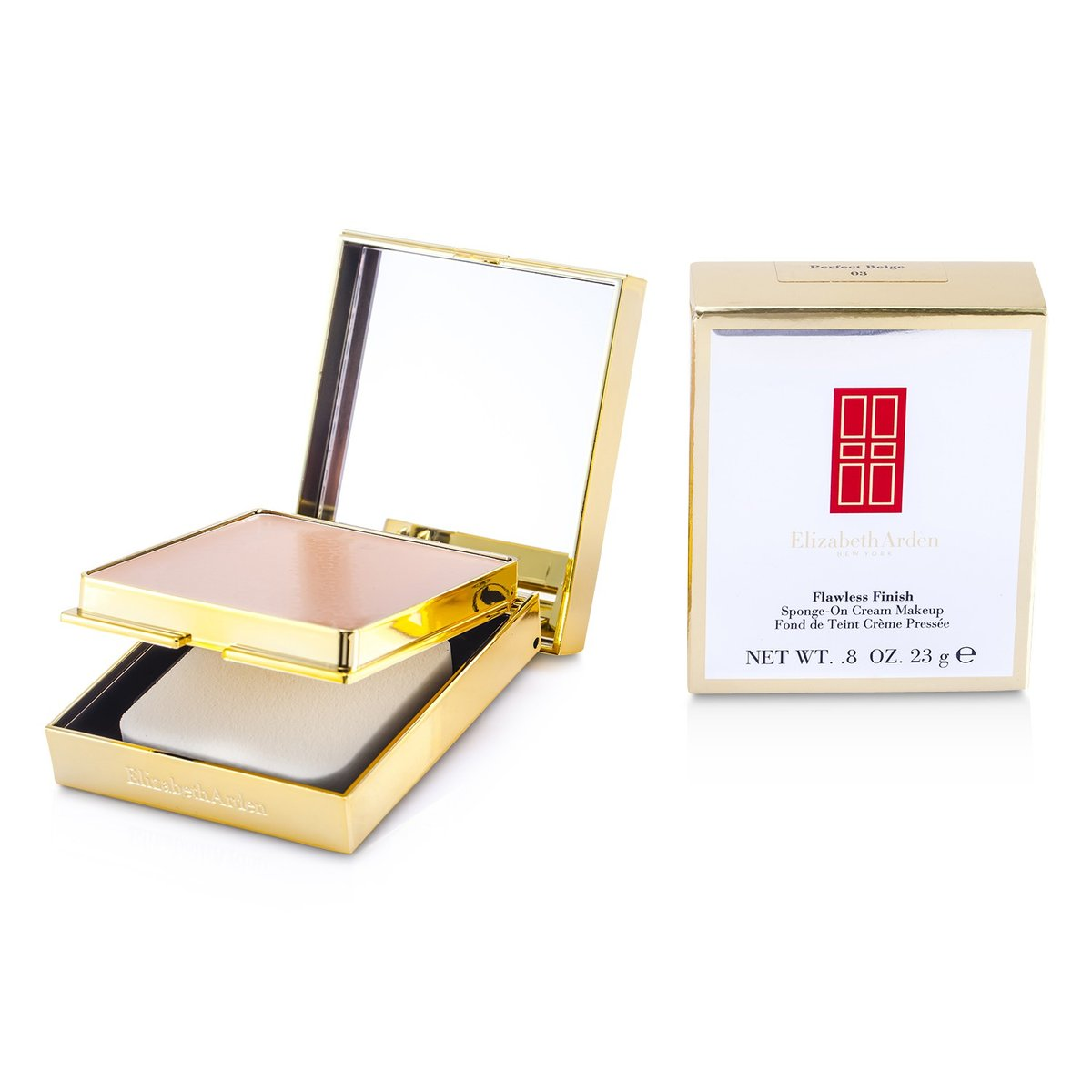 Flawless Finish Sponge On Cream Makeup (Golden Case) - 03 Perfect Beige  -[Parallel Import Product]