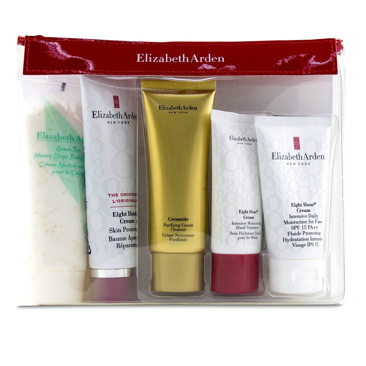 Daily Beauty Essentials Set: Purifying Cream Cleanser+ Eight Hour Cream+ Eight Hour Cream SPF 15+ Ei