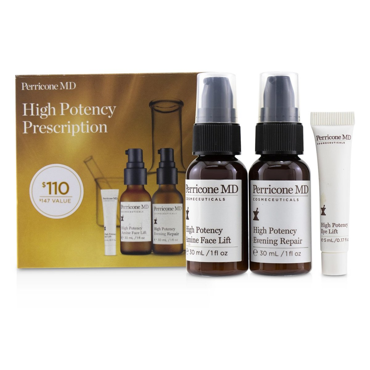 High Potency Prescription Kit: Evening Repair 30ml + Amine Face Lift 30ml + Eye Lift 5ml  -[平行進口]