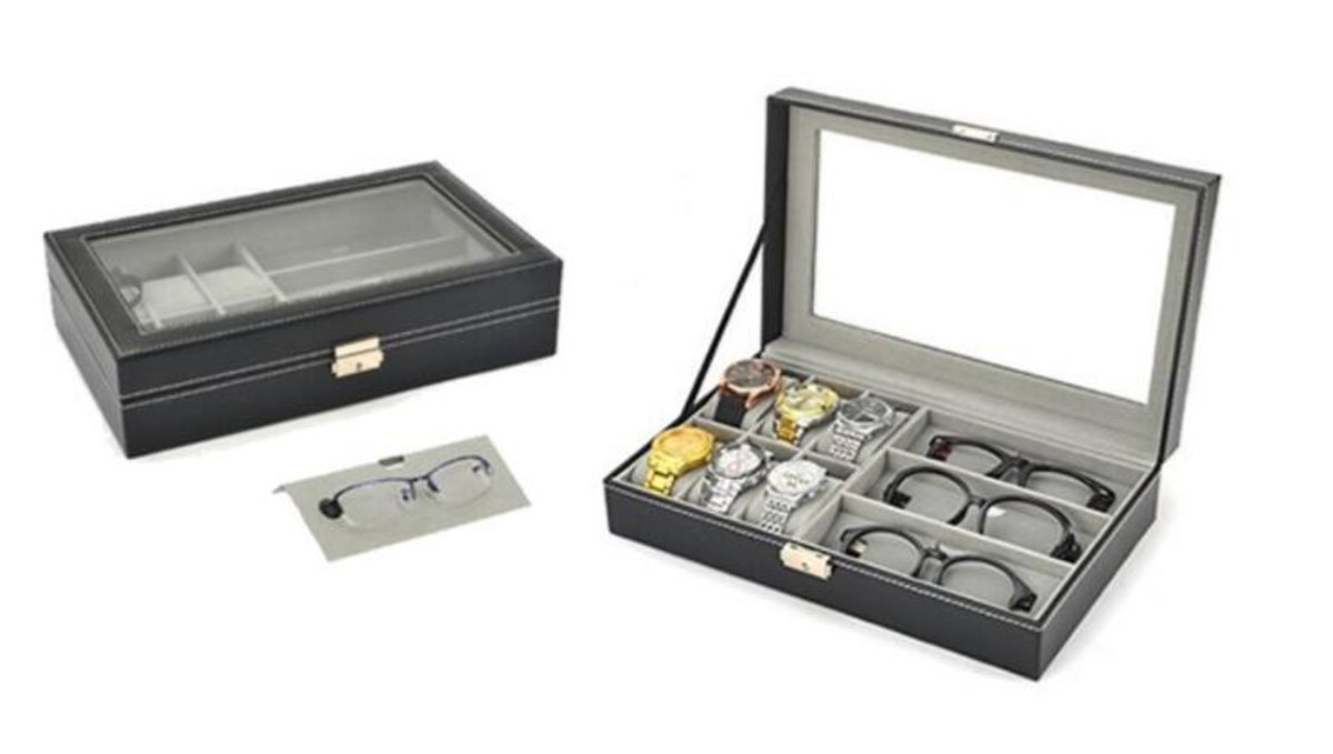 9-slot watches and eyeglasses storage case