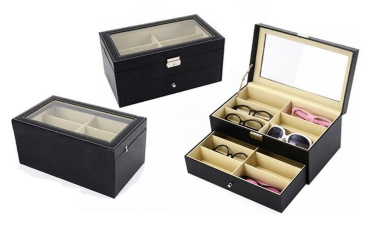12-slot eyeglasses storage case