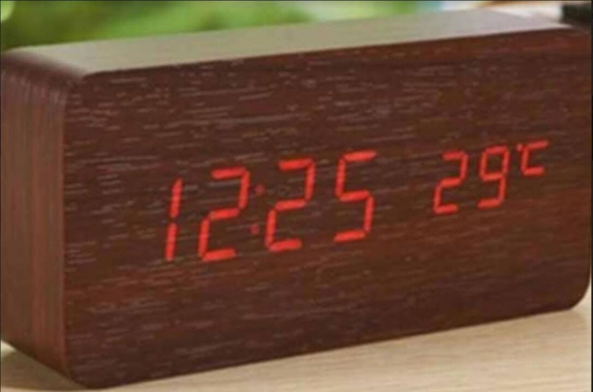 Wooden LED Alarm Clock-Brown wood with red light