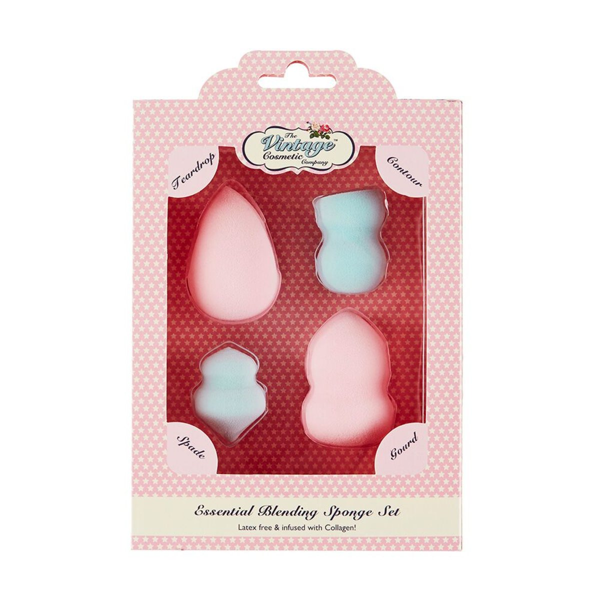 The Vintage Essential Blending Sponge Set Infused With Collagen