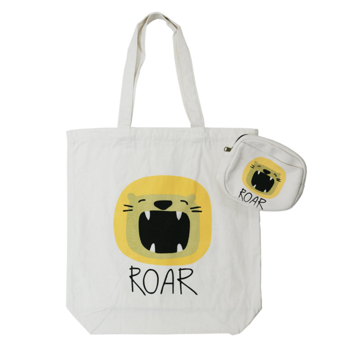 Tote Bag with Pouch Set (Green Cat)