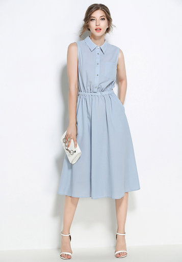 Polo Collar Sleeveless Dress