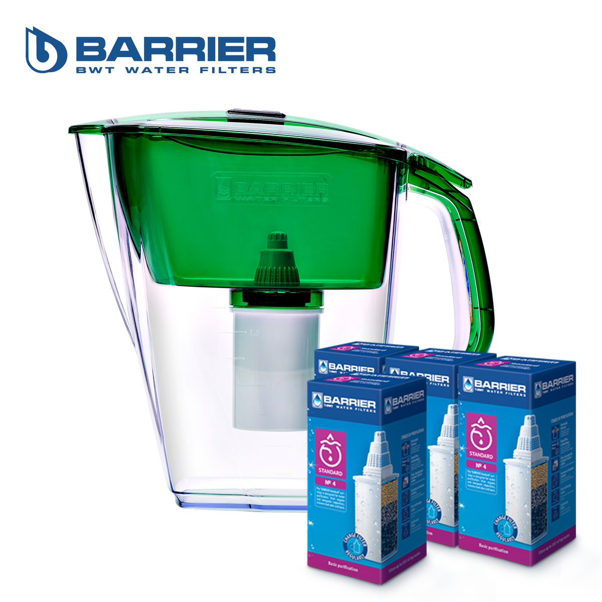 【Grand Neo】4.2L Water Pitcher(Green) + 4pcs Standard Cartridge