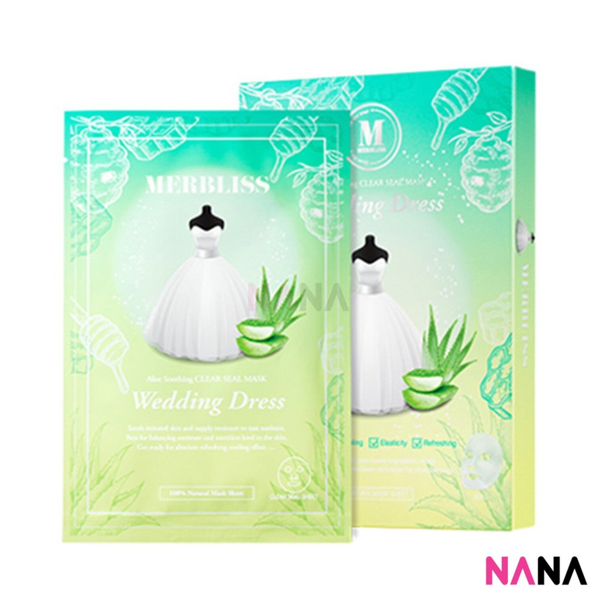 Wedding Dress Aloe Soothing Clear Seal Mask (5 Sheets/ Box)