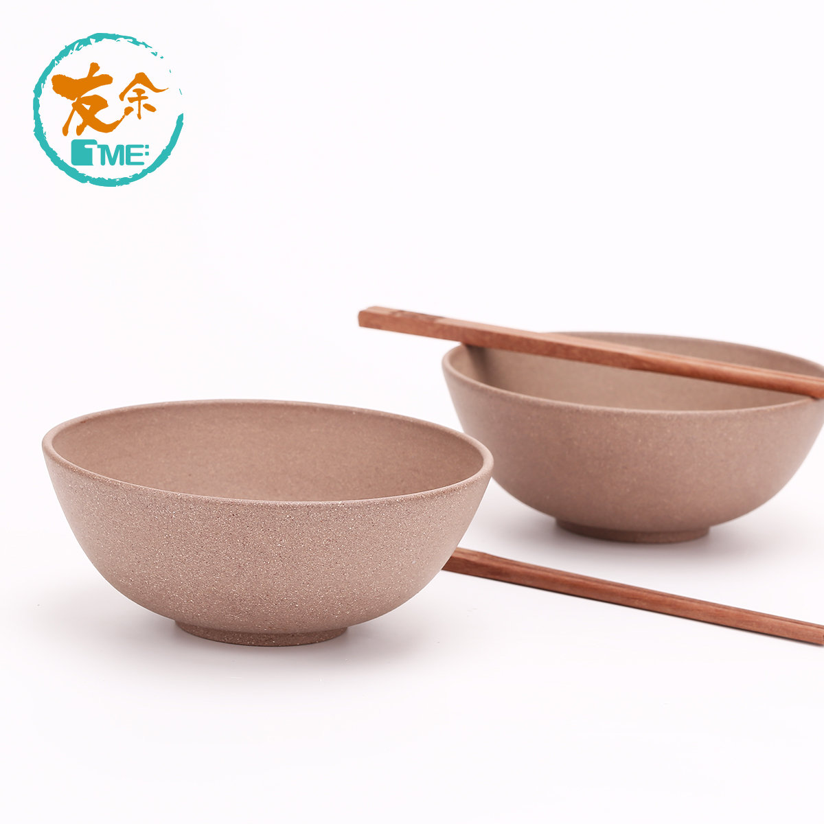 Purple Clay 2 Bowls (Grey) & 2 Chopsticks set