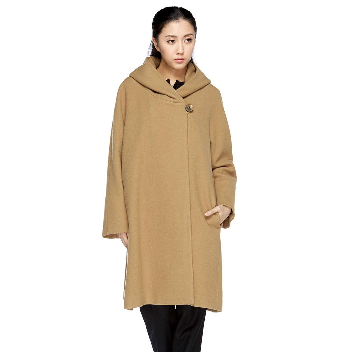 純羊毛圍巾領大衣