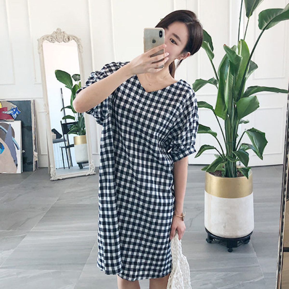Short Dolman Sleeve Check Print Dress