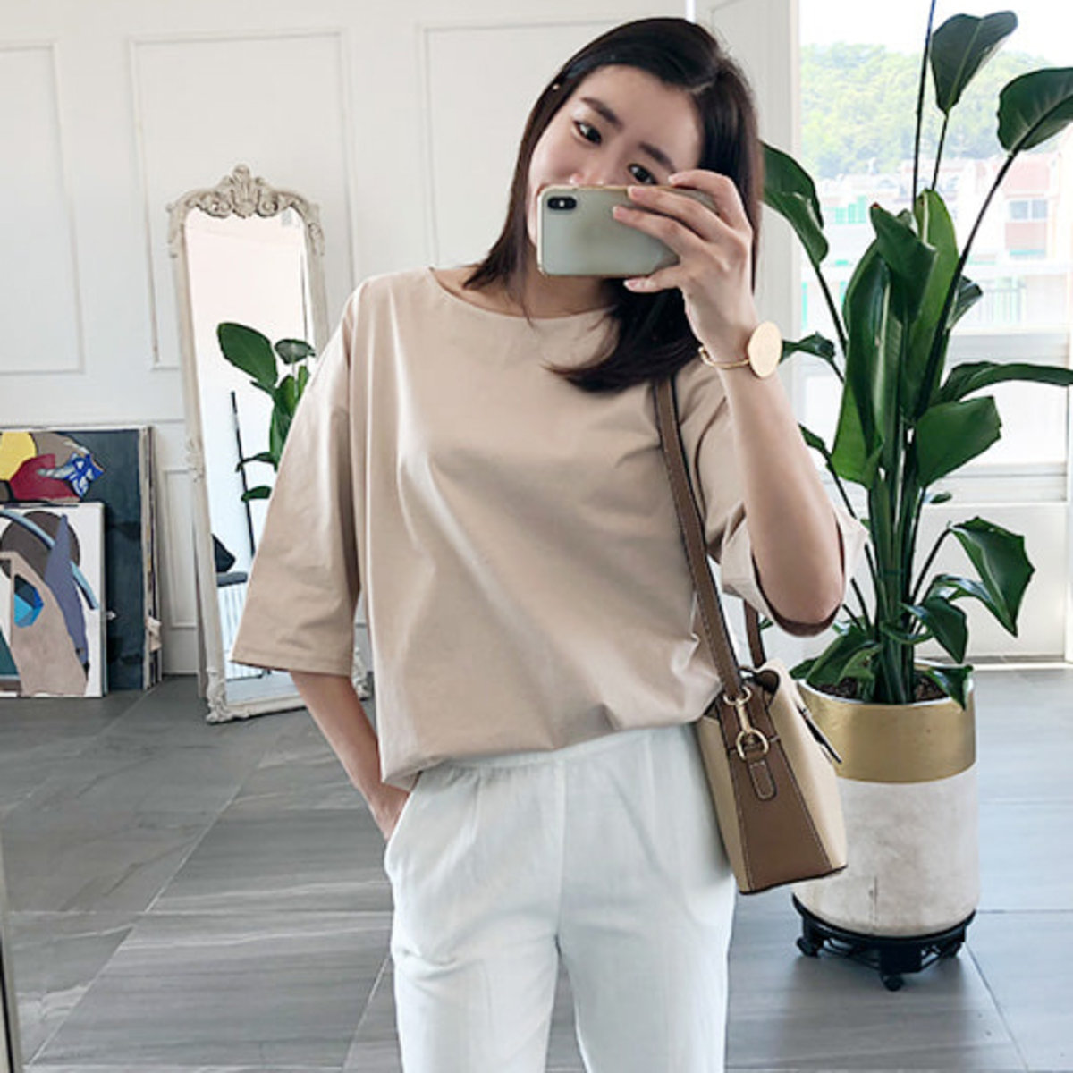 3/4 Sleeve Loose Fit T-Shirt