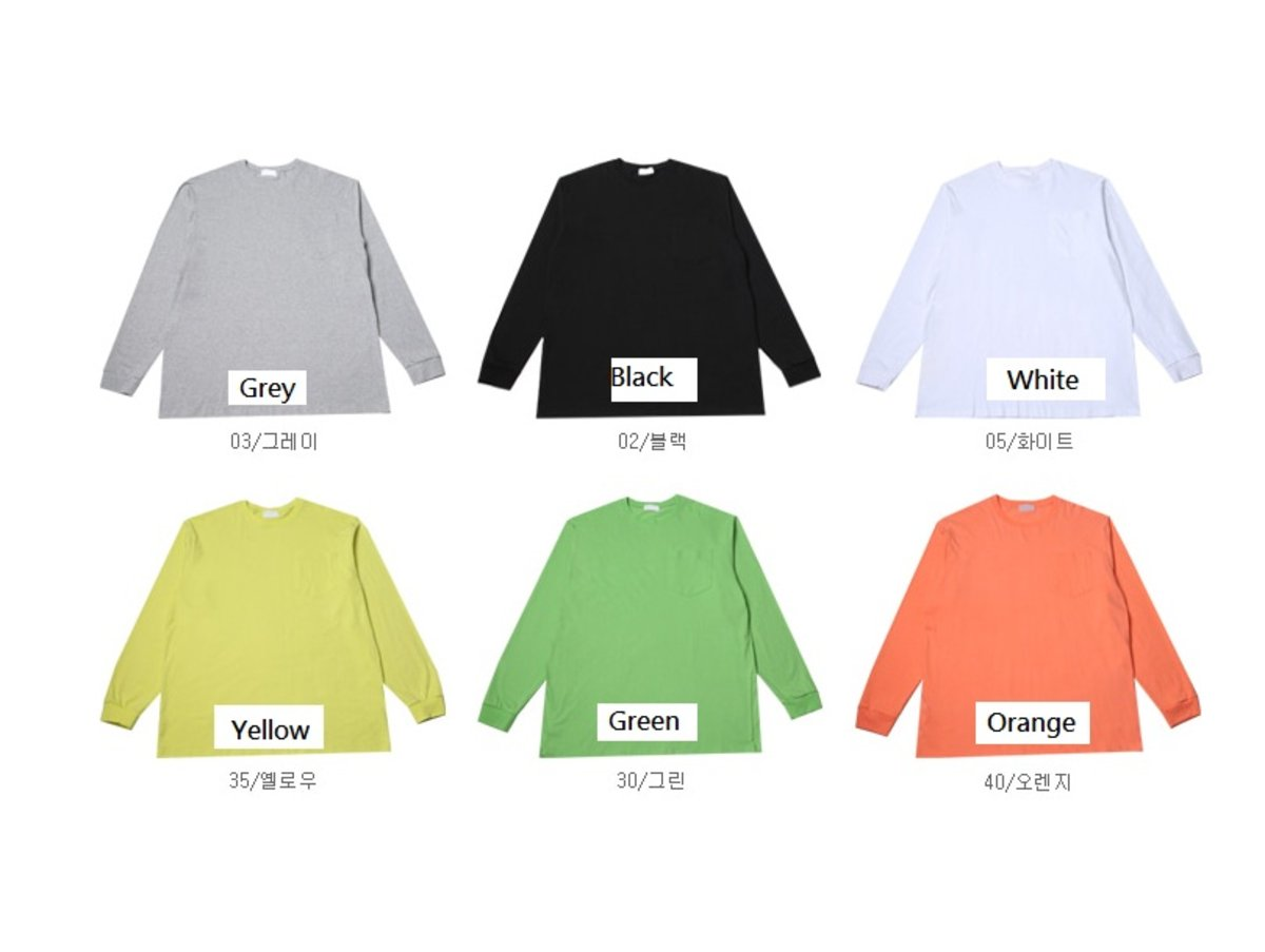 [CE1993]Long-Sleeved One Pockets Oversize T-Shirt