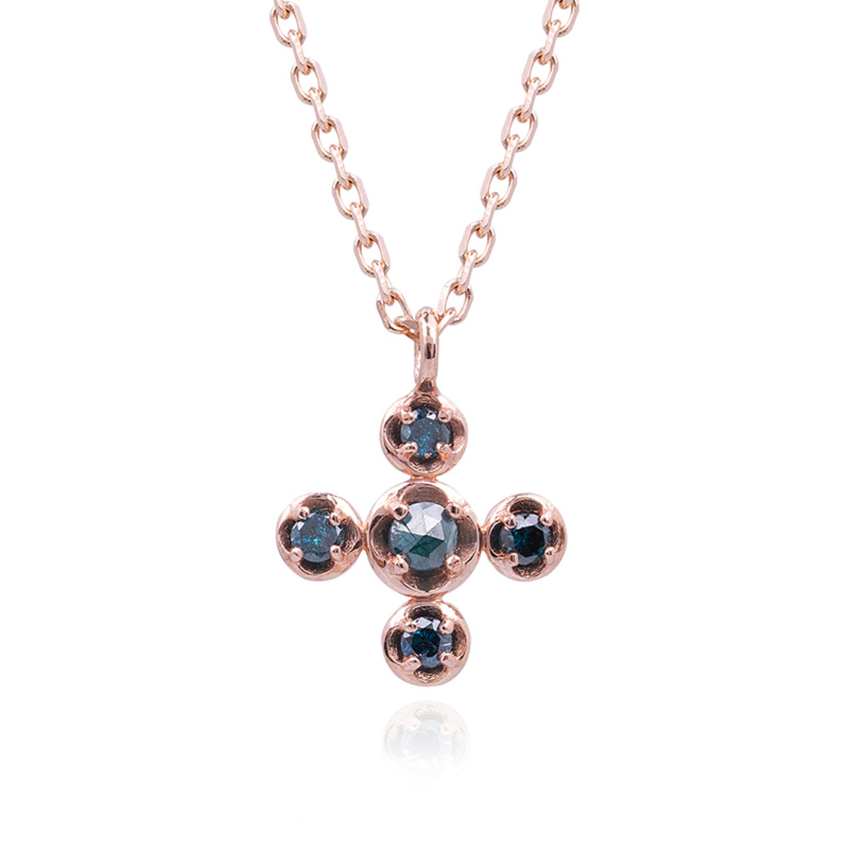 14K/585 Cross Blue Diamond Necklace