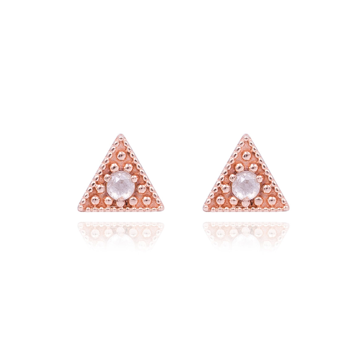 14K/585 Triangle Gray Ruf Diamond Stud Earrings