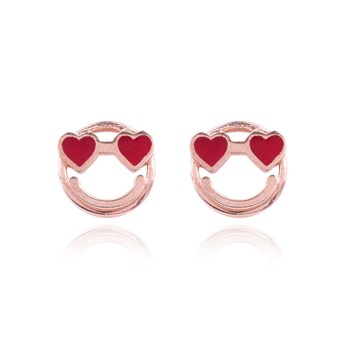 14K/585 Smiley Face Red Heart Eyes Stud Earrings
