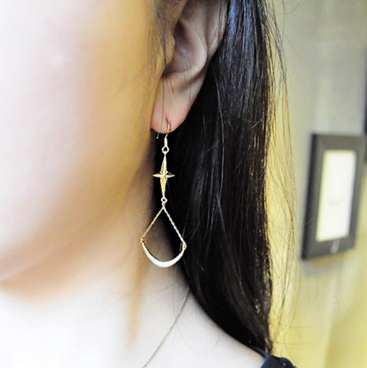 moon and stars earring - gold