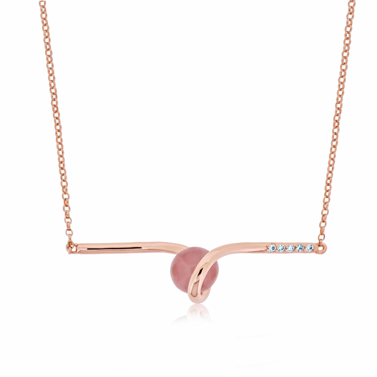 18K Rose Gold Vermeil on Sterling Silver Natural Guava Quartz Saturn Italian Necklace