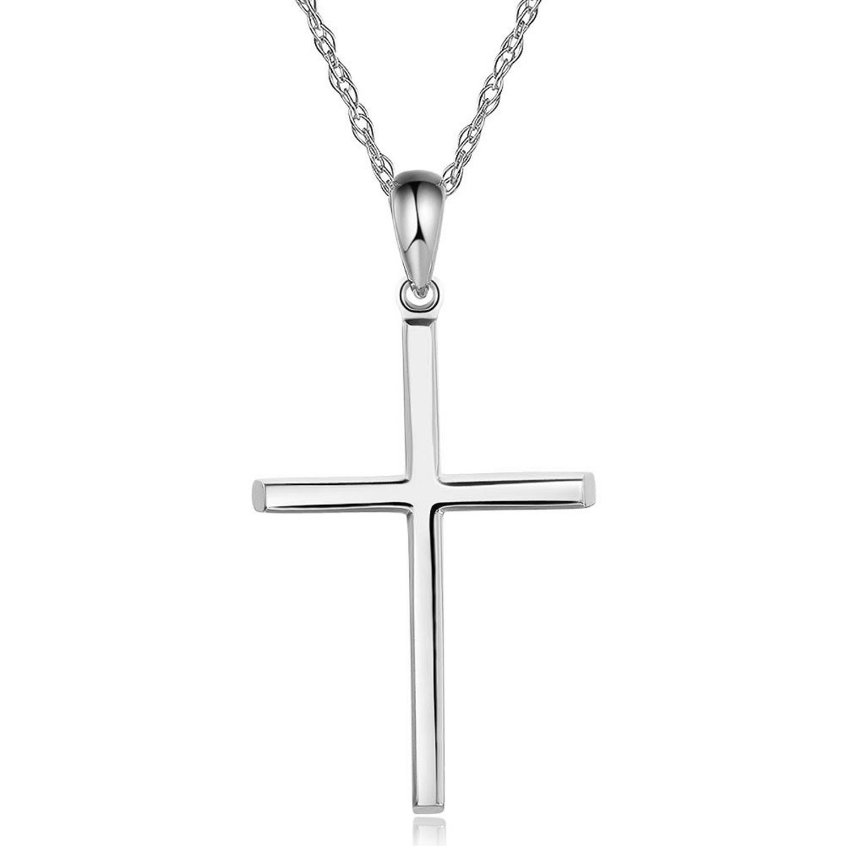 14K/ 585 White Gold Cross Pendant with Necklace