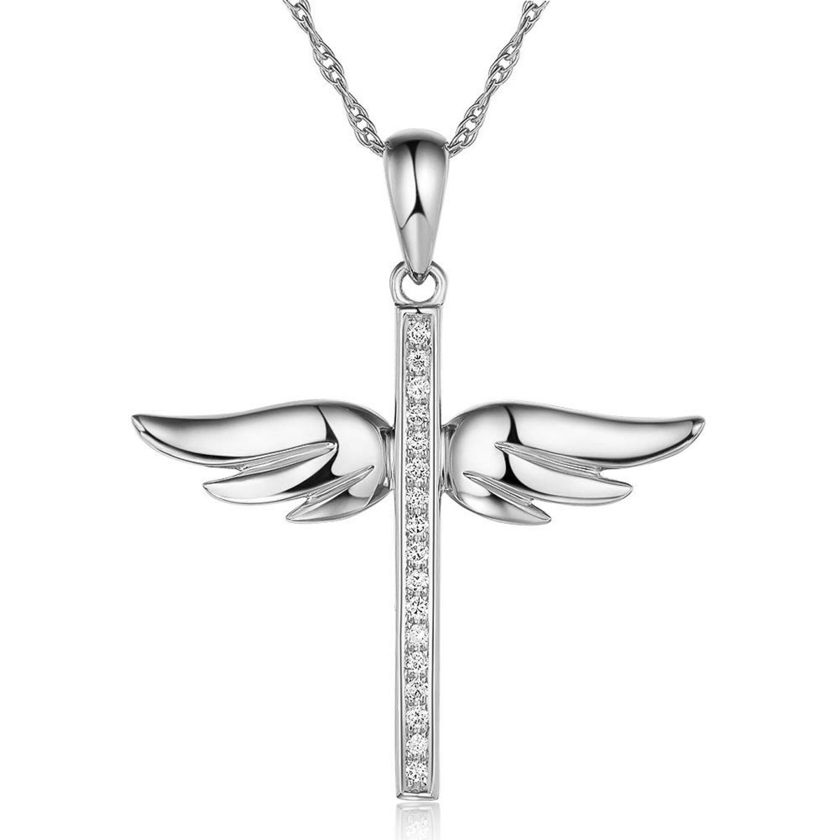 14K/ 585 White Gold Angle Wing Cross Pendant with Chain 0.08 Carat Natural Diamond
